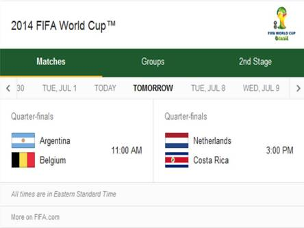 2014 FIFA World Cup - Match Schedule for Saturday, July 5, 2014