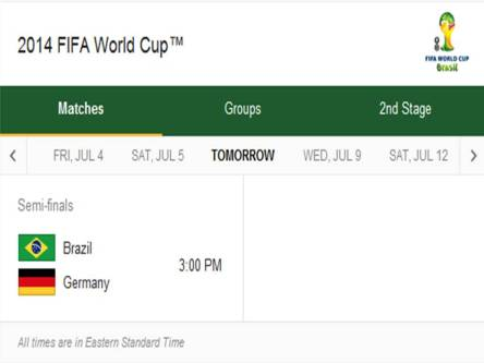 2014 FIFA World Cup - Match Schedule for Tueday, July 8, 2014