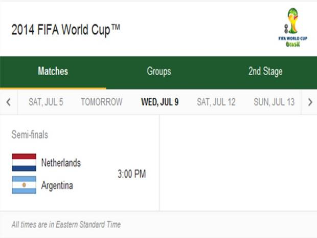 2014 FIFA World Cup - Match Schedule for Wednesday, July 9, 2014