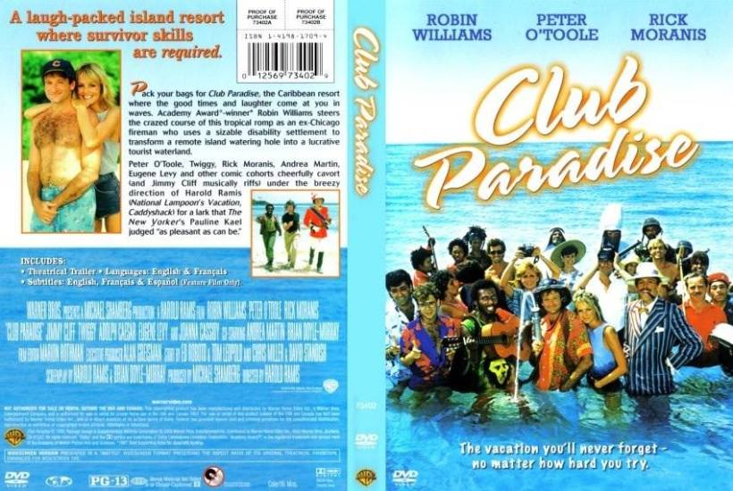 The official movie poster for Club Paradise which was shot in Portland, Jamaica and starred Robin Williams.