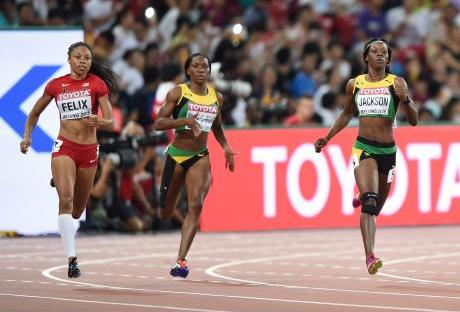 Allison Felix and Shericka Jackson in 400m finals