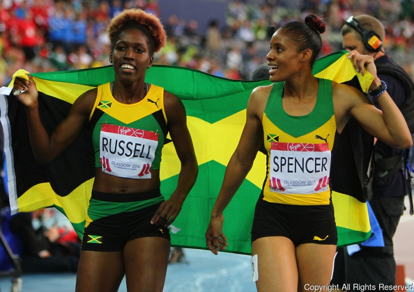 Kaliese Spencer and Janieve Russell of Jamaica
