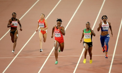 Veronica Campbell Brown IAAF World Athletics runs in the wrong lane
