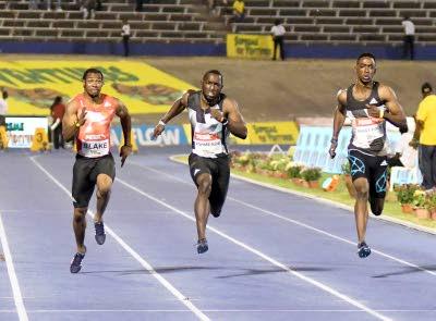 yohan blake wins 100m