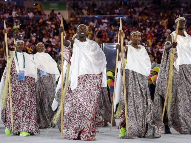 PHOTO: Team Burundi arrives during the opening ceremony for the 2016 Summer Olympics in Rio de Janeiro, Brazil, Aug. 5, 2016.