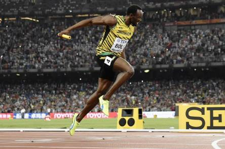 Bolt crossed the finish line to win the final of the men's 4x100 meter relay for the Jamaican team at the 2015 IAAF World Championships in Beijing in August 2015.