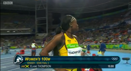 elaine thompson in semi finals 100m