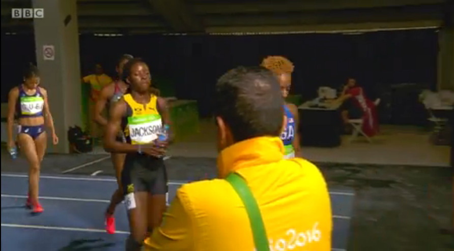 sherika jackson in womens 400m semi finals at rio