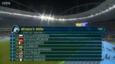 stephanie ann mcpherson in womens 400m semi finals at rio