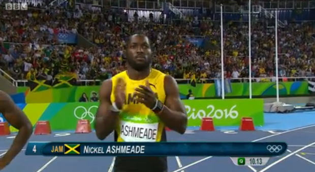 Nickel Ashmeade in the mens 100m semi finals rio