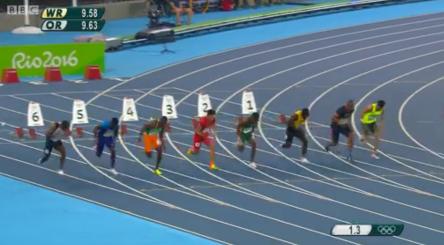 Nickel Ashmeade in the mens 100m semi finals rio