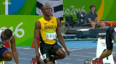 Usain Bolt wins his semi final of the mens 100m in rio