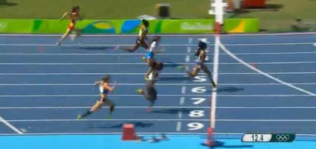 Shermane Williams in womens 100m hurdles at rio 2016 olympics