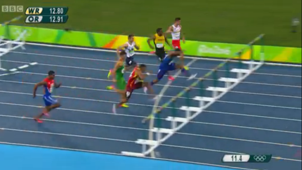deuce carter at rio 110m hurdles semi finals