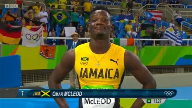 omar mcleod at rio in 110m semi final