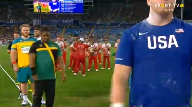 ODayne Richards throwing in the Men's Shot Put Final at ‪#‎Rio2016‬ ‪#‎Olympics