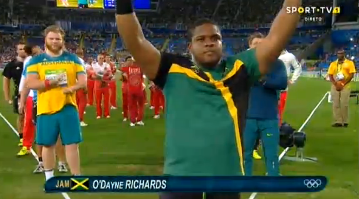 ODayne Richards throwing in the Men's Shot Put Final at #Rio2016 #Olympics