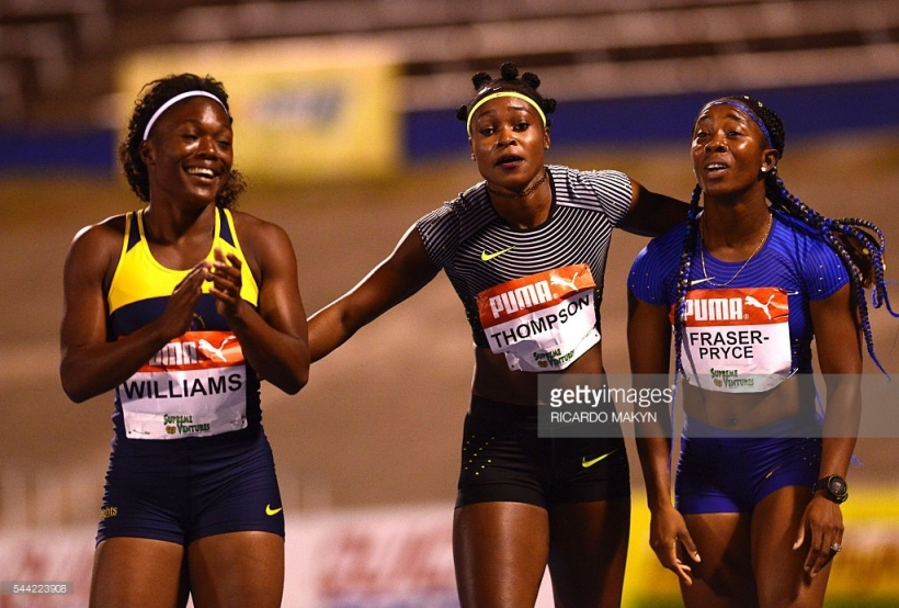 Shelly Ann Fraser Pryce, Elaine Thompson and Christania Williams