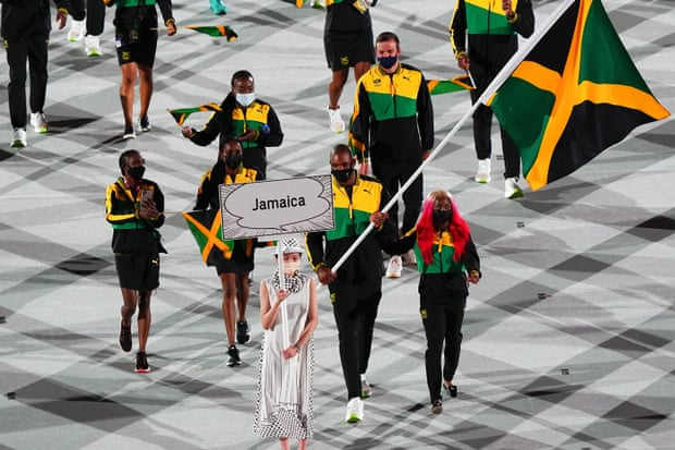Jamaica olympics team at opening ceremony in Tokyo